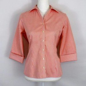 Lands End No Iron Pinpoint Oxford Striped Shirt